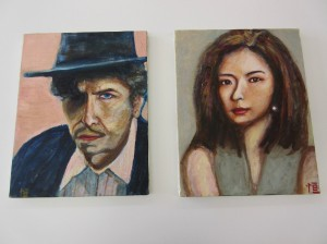 (左)アメリカのミュージシャン「ボブ・ディラン」 (右)無題・女性画
