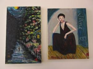 (左)月明かりの夜道  (右)イギリス女優「ジェーン・バーキン」